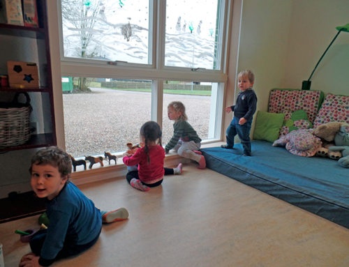 Børnene glade for stort vindue